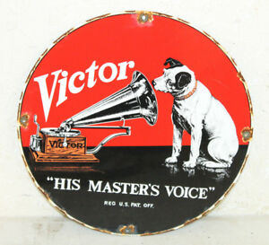 Vintage Style Rca Nipper Victor Record Porcelain Signs Country Store Advertising