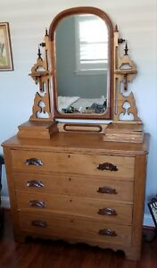 Antique Dresser With Mirror 4 Drawers 2 Glove Boxes Excellent Condition