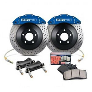 Stoptech Front Big Brake Kit Blue Caliper Slotted For 2005 Ford Mustang Gt