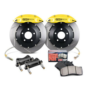 Stoptech Front Big Brake Kit Yellow Calipers Slotted For 2014 Ford Fiesta St