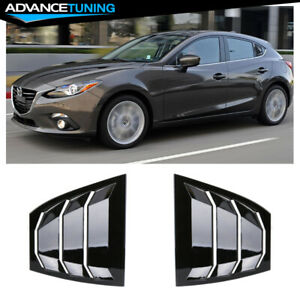 Fits 14 18 Mazda 3 Side Window Louvers Quarter Scoop Vent Gloss Black Abs