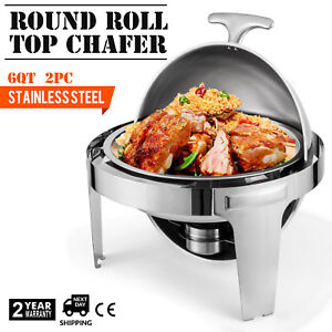 2pcs Chafing Dish Pans 6 Quarts 6 8 L Stainless Steel Tabletop Top Chafer