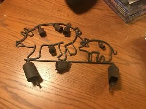 Folk Art Country Farm House Wind Chime Pig And Piglet Bells