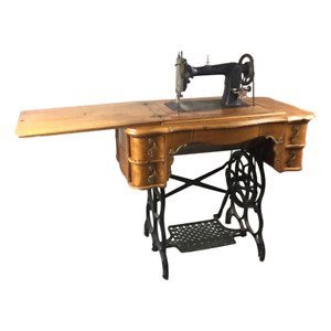 Antique Davis S M Co Sewing Treadle Machine W French Provincial Cabinet Rococo
