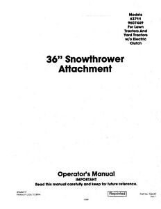 New Holland 36 Inch Snow Thrower Lawn Tractor Without Electric Operators Manual