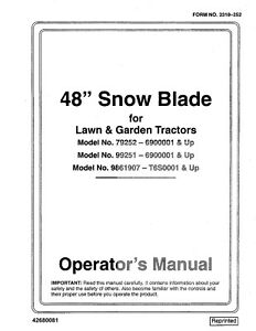 New Holland 48 Inch Snow Blade For Lawn Tractor Operators Manual