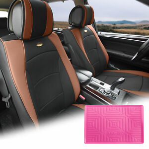 Pu Leather Seat Cushion Covers Front Bucket Brown W Pink Dash Mat For Auto