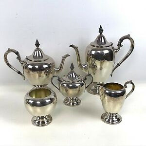 Nice Gorham 5 Piece Colonial Silverplate Coffee Tea Service