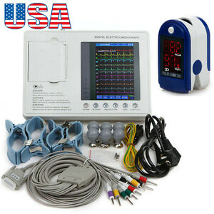 Medical 7 Digital Lcd 3 channel 12 Lead Ecg Ekg Machine system oximeter Usa