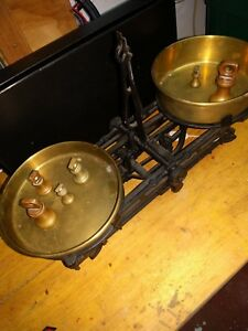 Vintage 3k Mechanical Cast Iron Balance Scale Brass Pan Weights