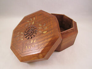 Hand Crafted Wooden Trinket Box W Brass Inlay