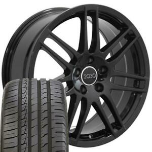 18 Rims Tires Fit Audi Rs4 Style Black Wheels 66 6 Ironman Tires