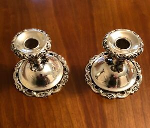 Silver Plate Candle Sticks Vintage Pair In Excellent Condition