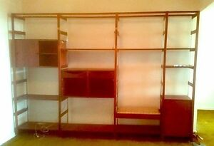 Mid Century Furnette Modular Rosewood Teak Shelving Case Wall Unit W Bench