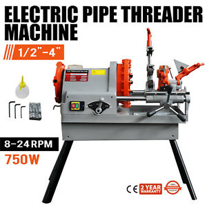 Electric Pipe Threading Machine 1 2 4 Npt Quick Opening Oil Can 4 Legs