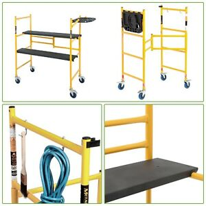 Rolling Scaffolding Platform 500lb Capacity Lightweight Adjustable Workbench