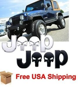 3d Emblem Punisher Skull Sticker Car Body Badge Decal For Jeep Black Silver Pair