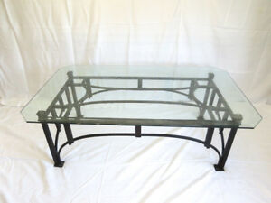 Vintage Ethan Allen Glass And Wrought Iron Coffee Table