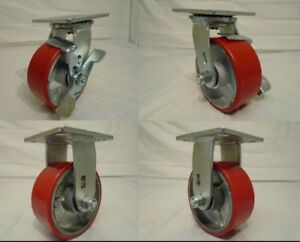 5 x2 Swivel Caster Polyurethane Wh Steel Hub Brake 2 rigid 2 1000lb Ea Tool Box