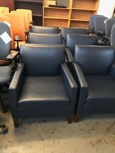Club Chair By Bernhardt Furniture Co In Navy Blue Leather Mahogany Wood Legs