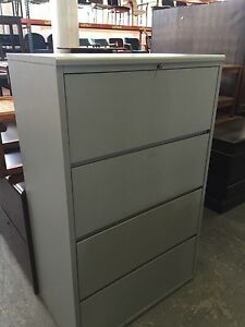 4 Drawer Lateral Size File Cabinet By Kimball Office Furn 36 w W lock