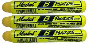 3 Markal B Yellow Tire Chalk Paint Sticks Crayon Surface Marker Graffiti Art