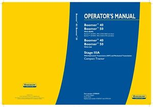 New Holland Boomer 40 50 With Rops With Cab Stage Iiia Tractor Operators Manual