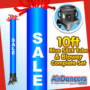Blue Sale Tube Air Dancer Blower Complete Set 10ft Inflatable Advertising