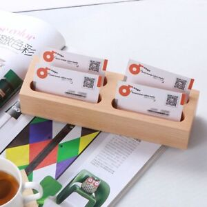 Creative Wooden Business Card Case Multi Layer Card Rack Holder Office
