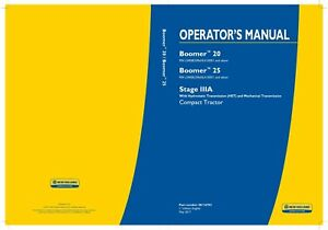 New Holland Boomer 20 25 Stage Iiia With Hst Tractor Operators Manual
