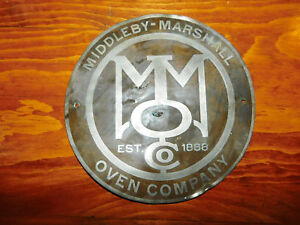 Middleby Marshall Oven Company Est 1888 Tin Sign Name Plate 1935