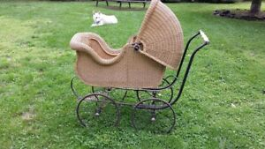 Hahne Co Newark Nj Antique Adult Baby Carriage Wicker Stroller Buggy Pram