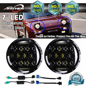 2x 7inch Round Led Headlight Bulbs Chrome Headlamps Upgrade Ip67 For Porsche 944