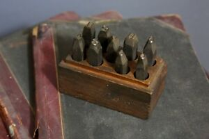 Vintage Steel Stamps Industrial Tool Punch Set Numbers In Wooden Case Box Old