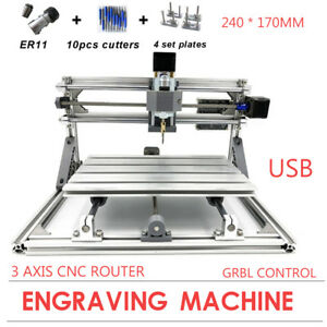 3 Axis Cnc 2417 Mill Router Desktop Metal Engraver Diy Pcb Milling Machine Usb
