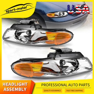 For 1996 1999 Dodge Caravan Chrysler Town Country Voyager Headlights Headlamps