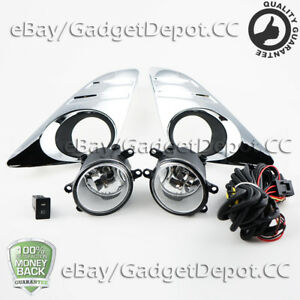 For 2012 2013 2014 Toyota Camry Bumper Fog Lamp Fog Lights W Chrome Bezel