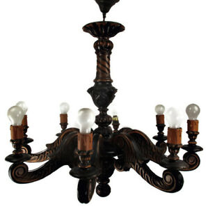 Large Hand Carved Ornate Wood Chandelier 8 Lights Arms Ceiling Light Mid Century