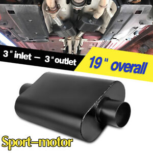 3 Inlet 3 Outlet Center Muffler 3 Chamber Performance Racing Silencer Black
