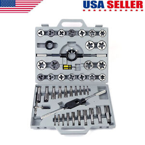 45 Pc Piece Titanium Standard Sae Size Inch Steel Tap And Die Tool Set Kit