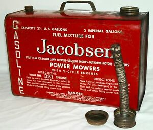 Vintage Metal Suitcase Jacobsen Vented Gas Can Rare 2 5 Gallon Lawn Mower