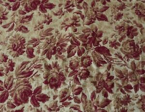 Beautiful Antique French Rose Jacquard Tapestry Fabric Silk Wool C1860 48 X23