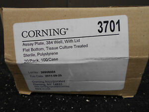 Corning 3701 Flat Bottom 384 Well Assay Plate With Lid 20 bx