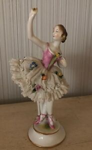 Vintage Antique 7 5 Porcelain Dresden Lace Lady Figurine Dancer Ballerina