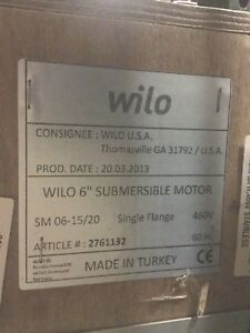 Wilo 2761132 Rewindable Submersible Motor 6 20hp 3ph 460v Stainless