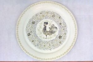 Vtg Marcelline Tole Painted Rooster Tray 19 Metal Round Floral Cream 1950 S