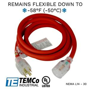 Temco 10ft Extreme Weather Generator Cord Red Nema L14 30 125 250v 30a Ul