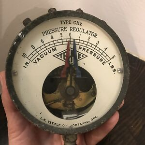 Antique Vtg Teeple Ch2 Pressure Regulator Gauge Steampunk Industrial