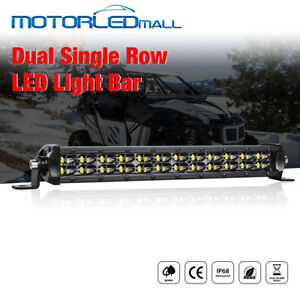 12inch Led Light Bar Flood Spot Combo Single Row Driving Fog 4wd Boat 120w Slim