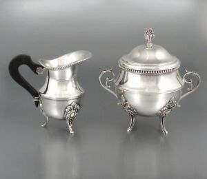 Antique French Ercuis Silver Plate Cream Pitcher And Sugar Bowl 1872
